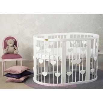 Кроватка BAGGYBED OVAL 9-в-1 с сердечками с полозьями для укачивания IngVart белый 60x71