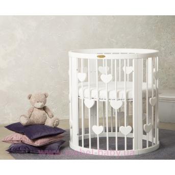 Кроватка BAGGYBED ROUND 9-в-1 с сердечками с полозьями для укачивания IngVart белый 72x72