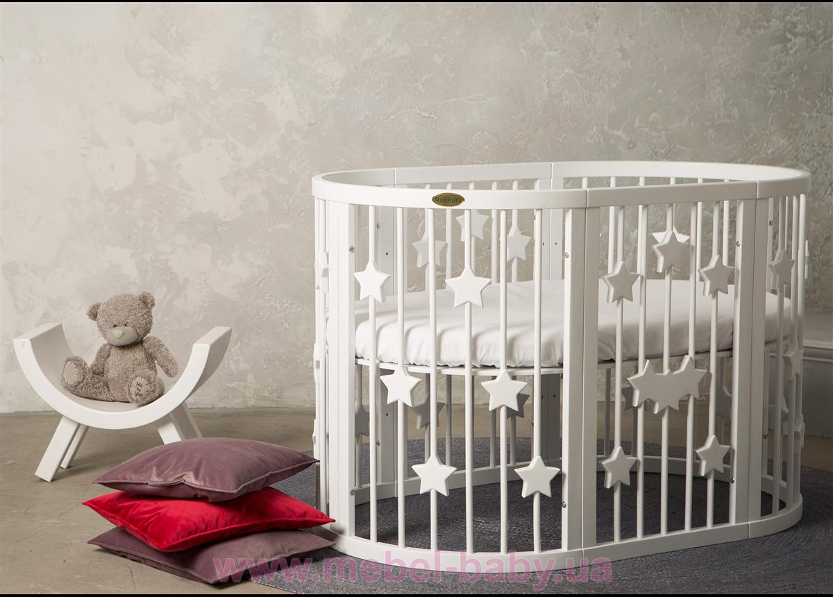 Кроватка BAGGYBED OVAL 9-в-1 со звёздочками с полозьями для укачивания IngVart белый 60x71
