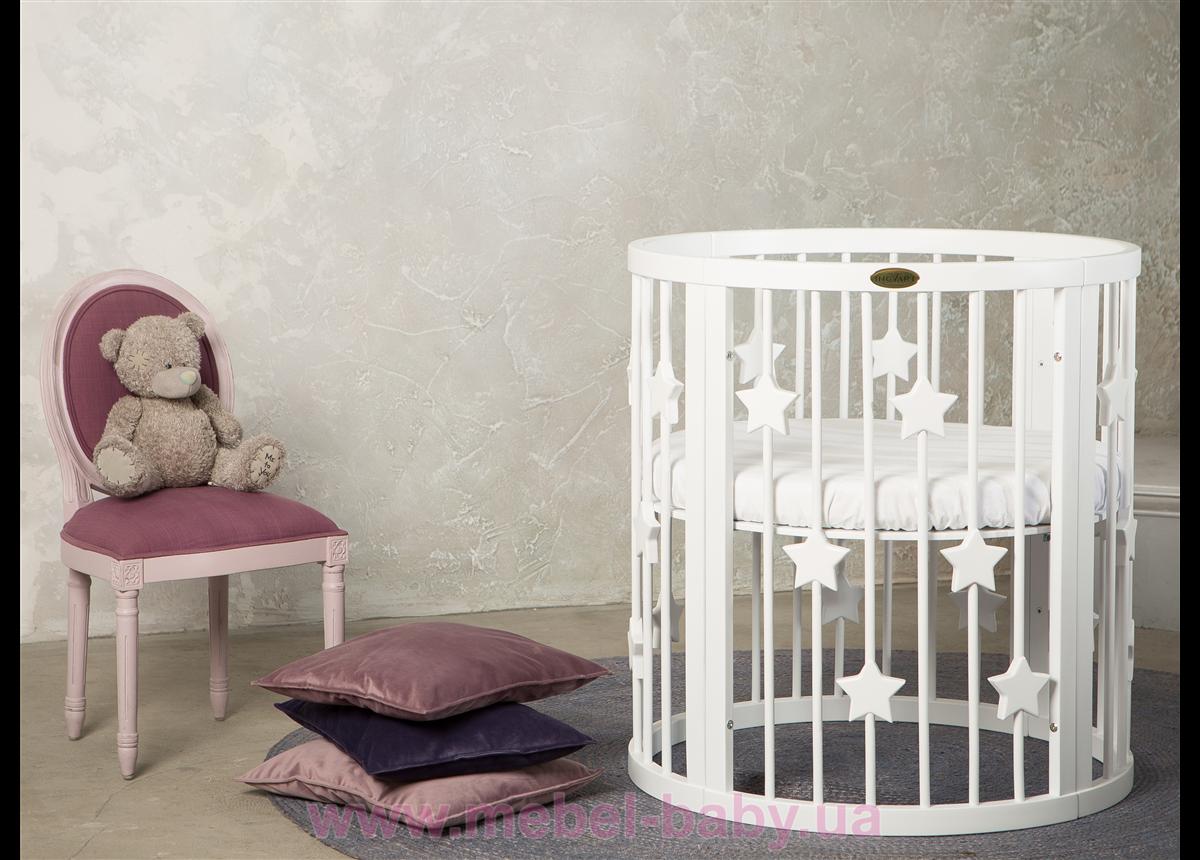 Кроватка BAGGYBED ROUND 9-в-1 со звёздочками с полозьями для укачивания IngVart белый 72x72