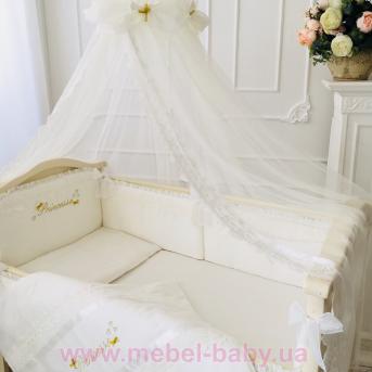 Набор постельного белья Принцесса(7 предметов) молочный сатин