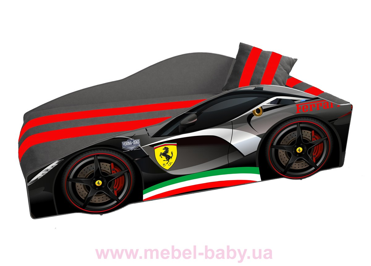 Кровать-машина Ferrari E-2 Элит Viorina-Deko 80x170 мягкий спойлер + подушка + газовый механизм