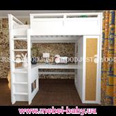 Кровать-чердак со столом полный комплект 2 Лофт Justwood