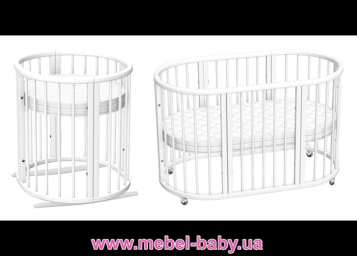 Овальная кроватка 8в1 LuxBed White