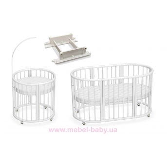 Овальная кроватка 8в1 LuxBed White + маятник