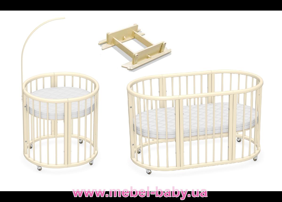 Овальная кроватка 8в1 LuxBed Vanilla +маятник