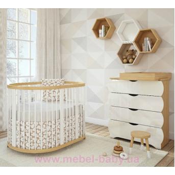 Овальная кроватка 8в1 Natural+White
