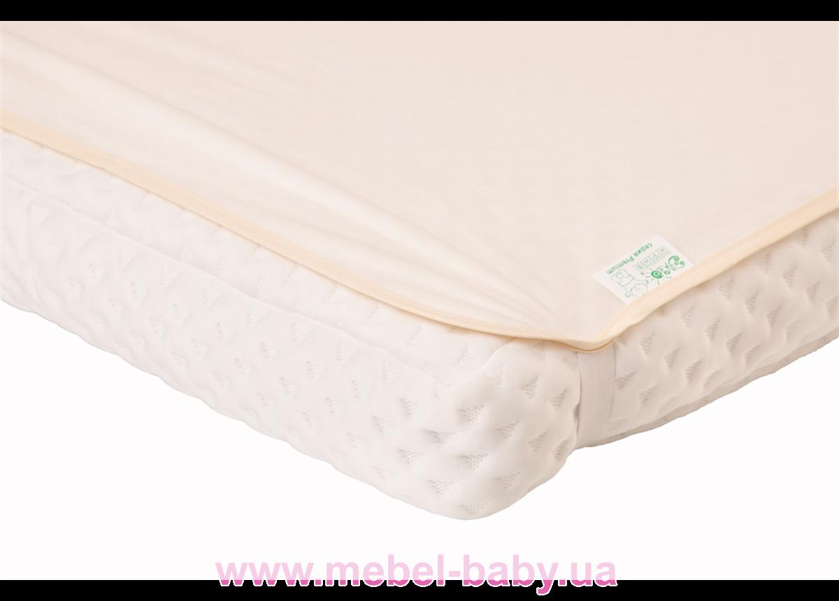 Наматрасник-пеленка 2в1 ЭКО ПУПС Premium размер 60х80 см. (Молочный) ПНАМ6080м