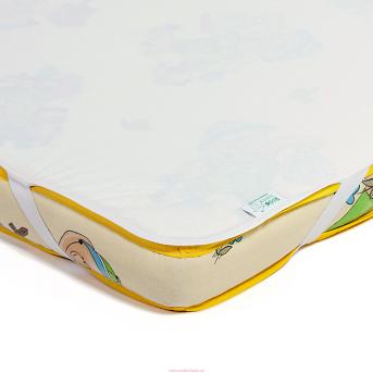 Детский непромокаемый наматрасник ЭКО ПУПС Поверхность Premium 60x120 молочный