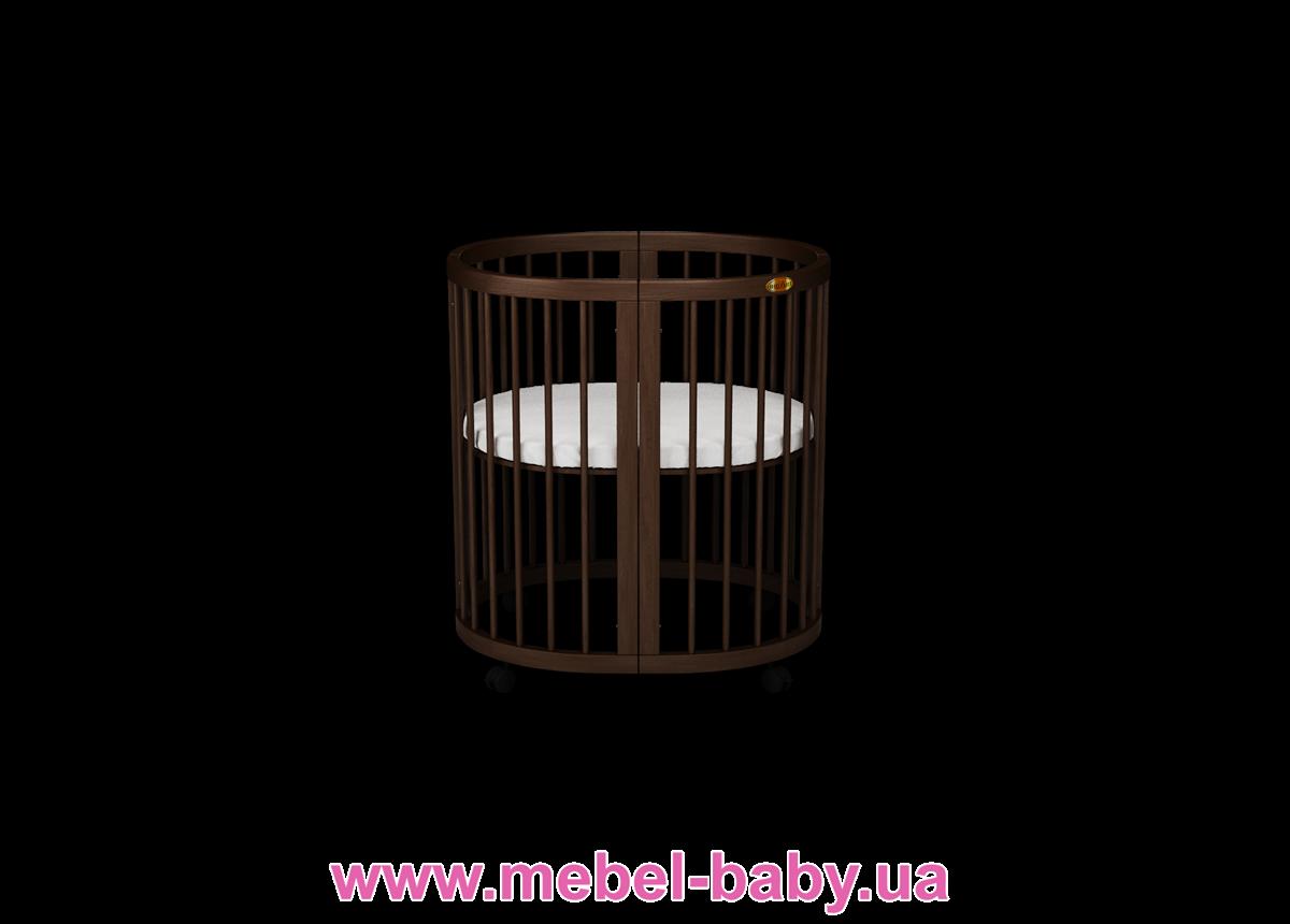 Кроватка SMARTBED OVAL 9-в-1 с полозьями для укачивания IngVart шоколад 60x71