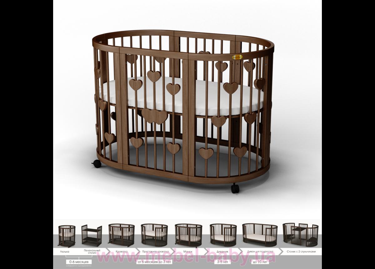 Кроватка SMARTBED OVAL 9-в-1 с сердечками с полозьями для укачивания IngVart шоколад 60x71