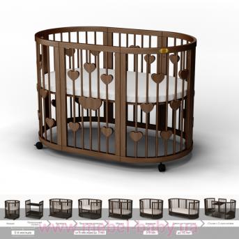 Кроватка SMARTBED ROUND 9-в-1 с сердечками с полозьями для укачивания IngVart шоколад 72x72
