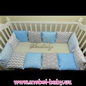 """Комплект в кроватку """"Маленький принц"""" 12 бортиков с постельным Sindbaby"""