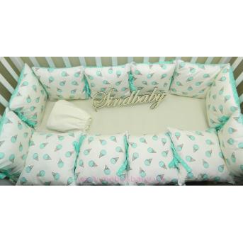 Защитные бортики из сатина для детской кроватки -01 Sindbaby