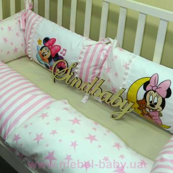 Защитные бортики из сатина для детской кроватки -03 Sindbaby