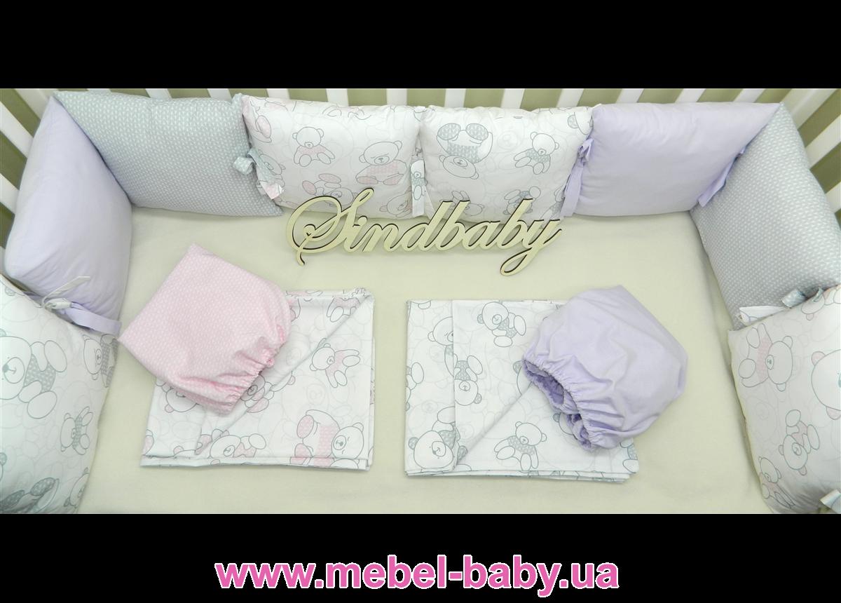 Защитные бортики из сатина для детской кроватки -04 Sindbaby