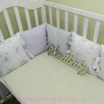 Защитные бортики из сатина для детской кроватки -05 Sindbaby