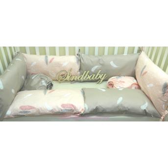 Защитные бортики из сатина для детской кроватки -07 Sindbaby