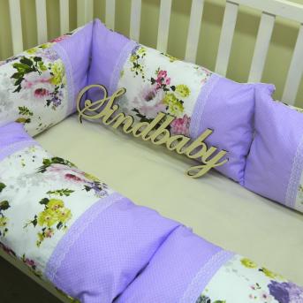 """Бортики подушки, комплект """"Цветы в сирени"""" Sindbaby"""