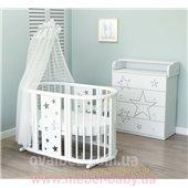 Овальная кроватка 7в1 Ovalbed White Stars Light