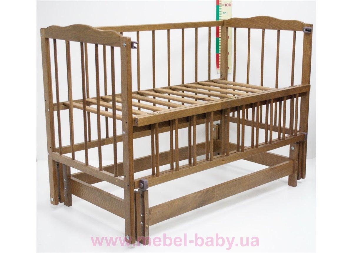 Кроватка с маятниковым механизмом поперечного качания Малятко Колисковий світ 60x120 Орех лесной