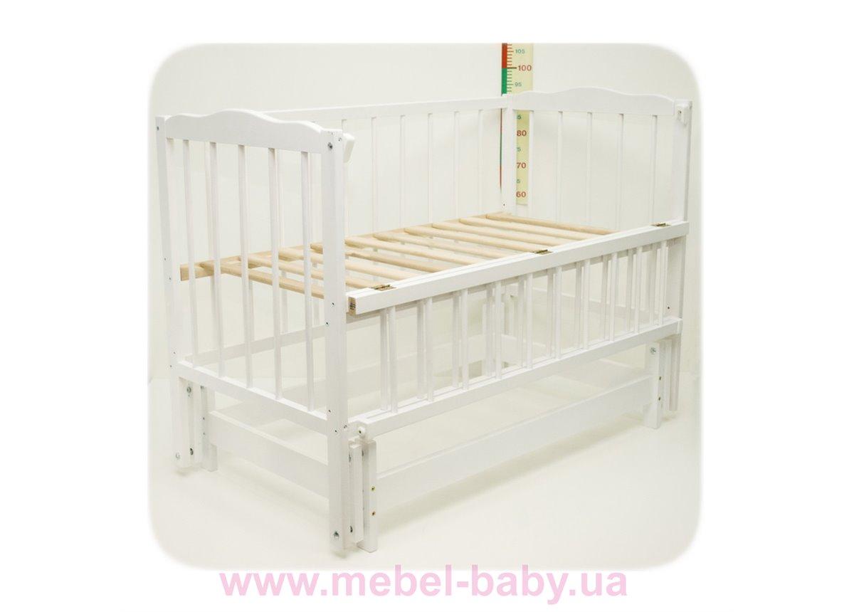 Кроватка с маятниковым механизмом поперечного качания Малятко Колисковий світ 60x120 Белый