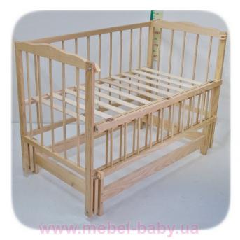 Кроватка с маятниковым механизмом поперечного качания Малятко Колисковий світ 60x120 Натуральный