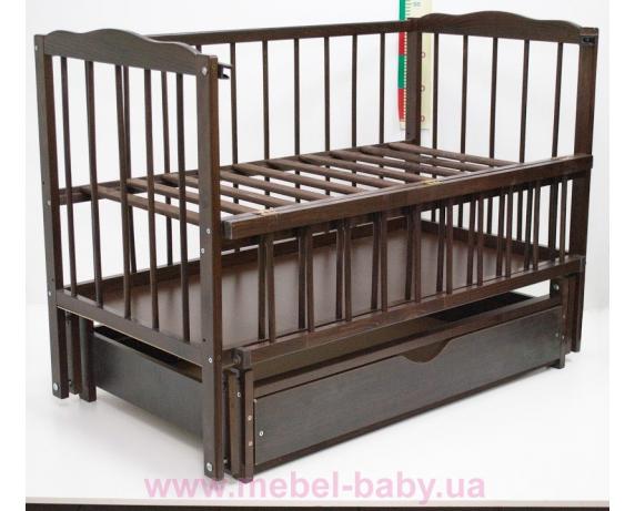 Кроватка с маятниковым механизмом поперечного качания Малятко с ящиком Колисковий світ 60x120 Орех