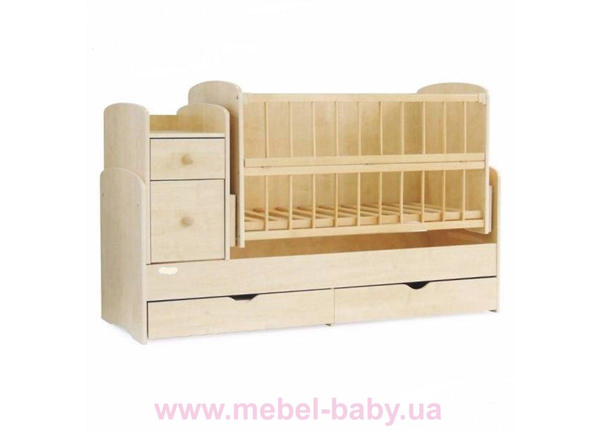 Кроватка-трансформер для новорожденных Колисковий Свiт 60х120 Натуральный