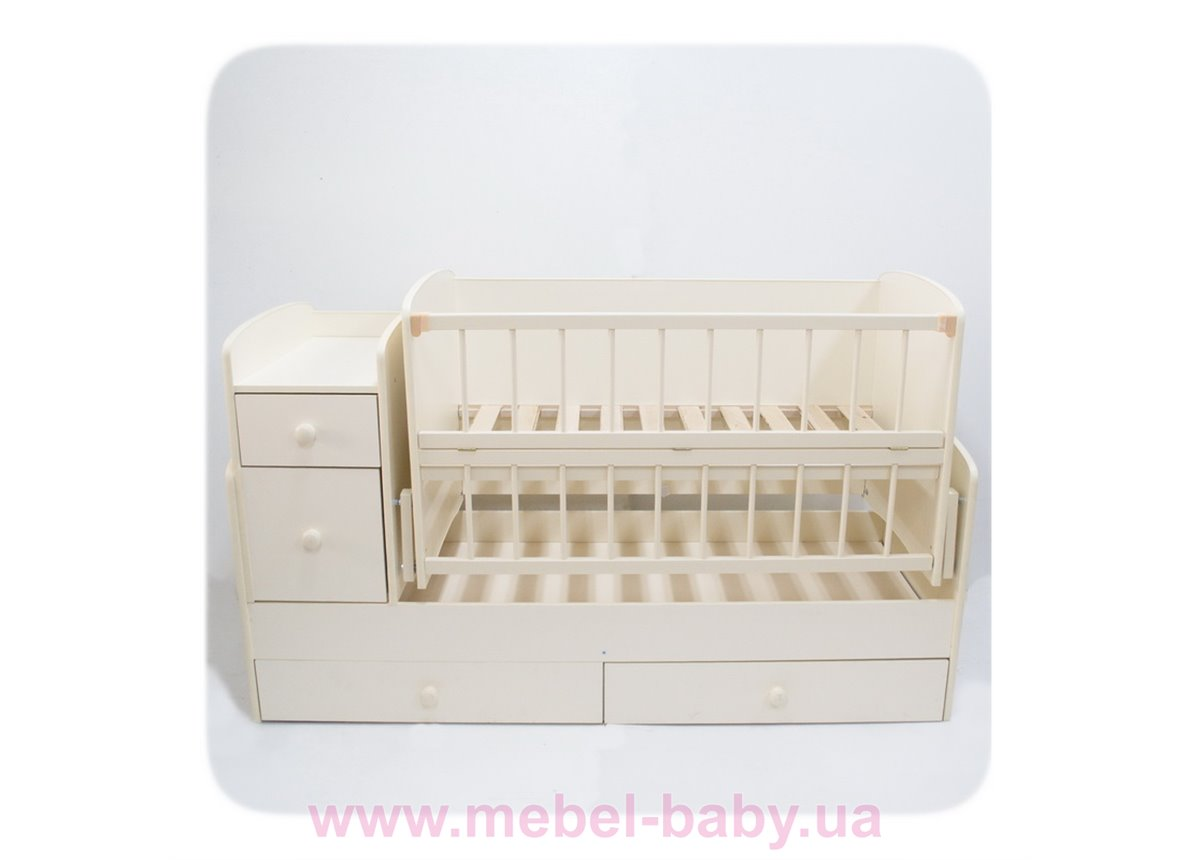Кроватка-трансформер для новорожденных Колисковий Свiт 60х120 Слоновая кость
