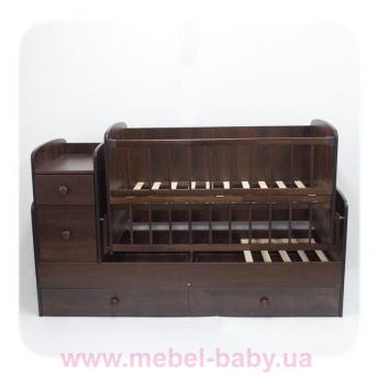 Кроватка-трансформер для новорожденных Колисковий Свiт 60х120 Орех