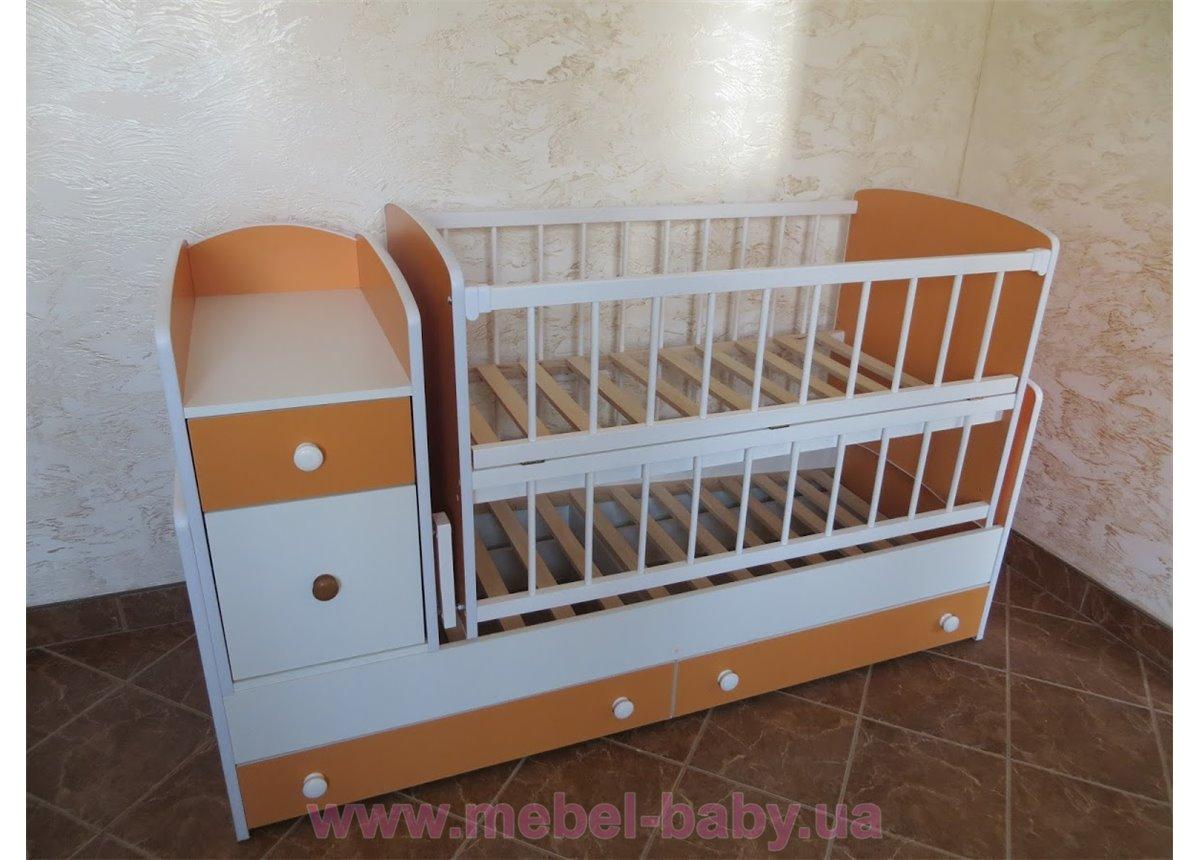 Кроватка-трансформер для новорожденных Колисковий Свiт 60х120 Бело-Оранжевый