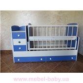 Кроватка-трансформер для новорожденных Колисковий Свiт 60х120 Бело-Синий