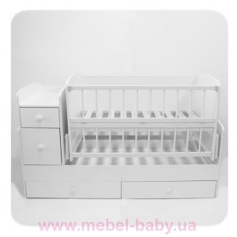 Кроватка-трансформер для новорожденных Колисковий Свiт 60х120 Белый