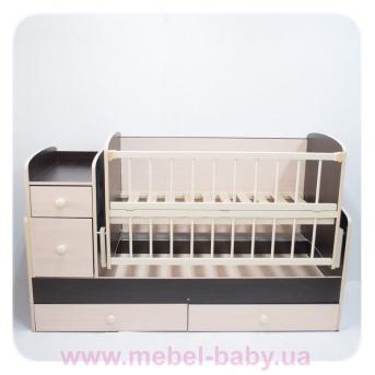 Кроватка-трансформер для новорожденных Колисковий Свiт 60х120 Слоновая кость-Венге