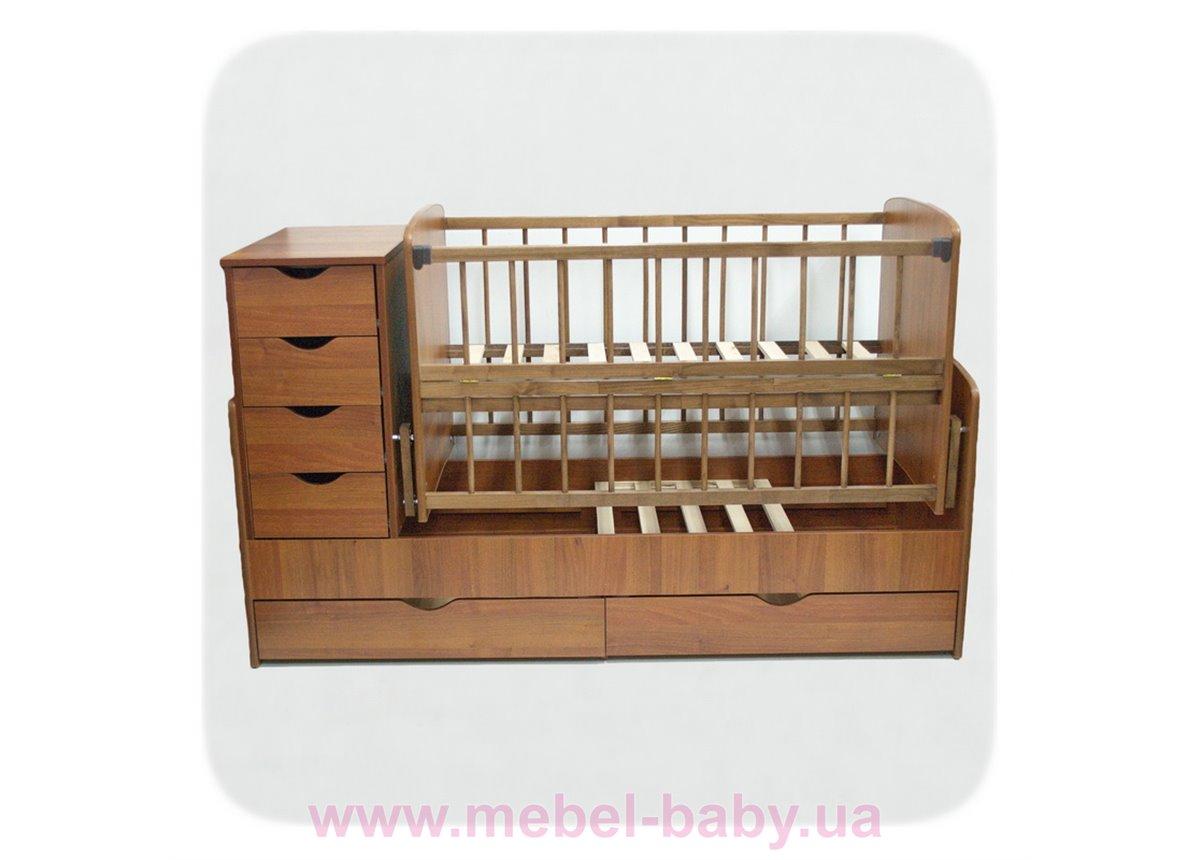 Кроватка-трансформер для новорожденных Колисковий Свiт 60х120 Орех лесной