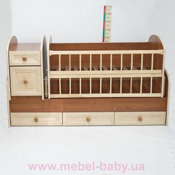 Кроватка-трансформер для новорожденных Колисковий Свiт 60х120 Орех МДФ