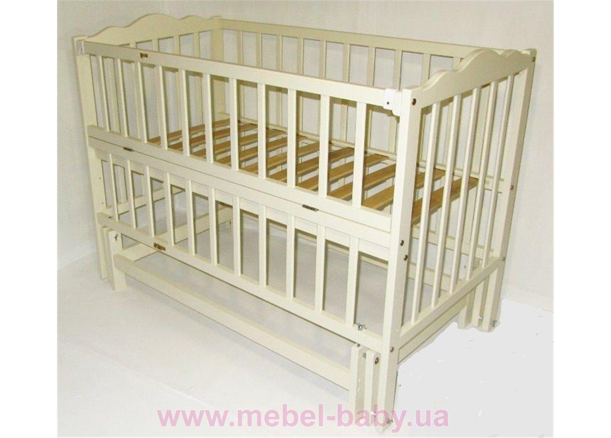 Кроватки с маятниковым механизмом поперечного качания  (Анастасия 2) Кузя 60x120 Слоновая Кость