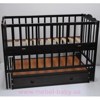 Кроватки с маятниковым механизмом поперечного качания  (Анастасия) с ящиком Кузя 60x120 Венге