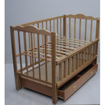 Кроватки с маятниковым механизмом поперечного качания  (Анастасия) с ящиком Кузя 60x120 Натуральный