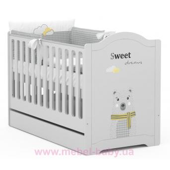 Не качающаяся кроватка для новорожденных 5018_Детская кроватка RE 140 Vibe 70x140 Meblik Серый