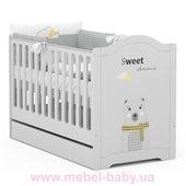 Не качающаяся кроватка для новорожденных  RE 140 Серия Vibe 518 Meblik 70x140 Серый