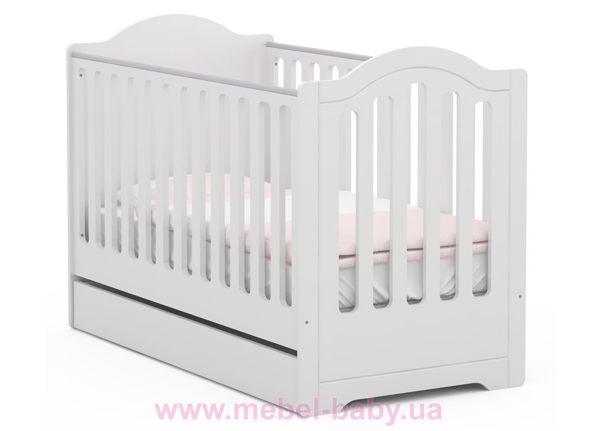 Не качающаяся кроватка для новорожденных 5018_Детская кроватка RE 140 Royal White 70x140 Meblik Белый