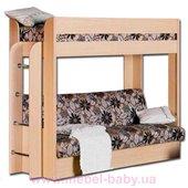 Двухъярусная кровать с диваном 90x200/120x190 Чердачок
