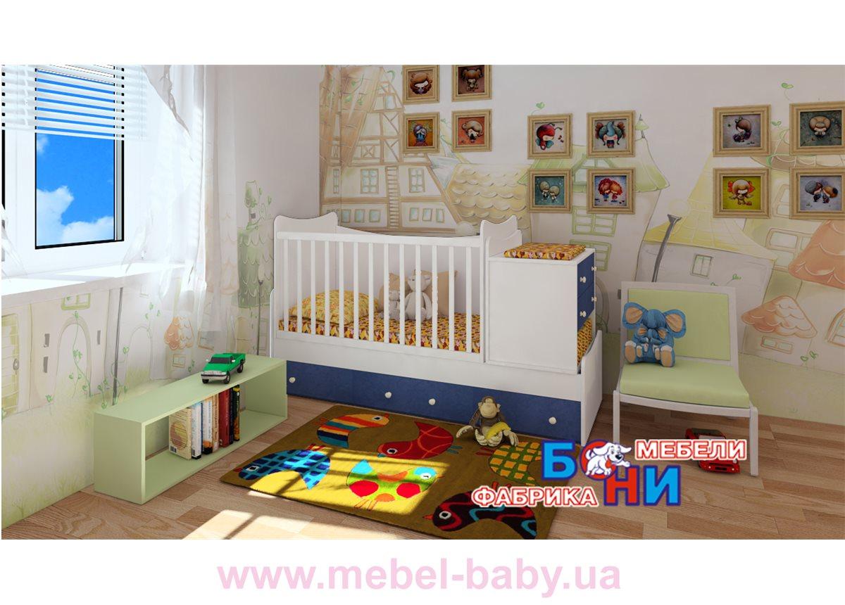 """Кроватка-трансформер """"Скай""""  Бони-Мебель  60x120"""