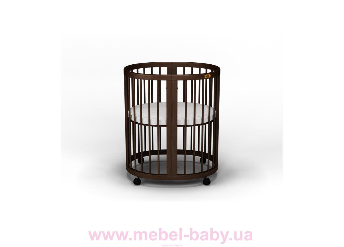 Кроватка BAGGYBED ROUND 9-в-1 с маятником IngVart шоколад 72x72