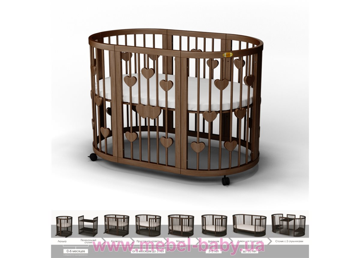Кроватка SMARTBED OVAL 9-в-1 с сердечками с маятником IngVart шоколад 60x71