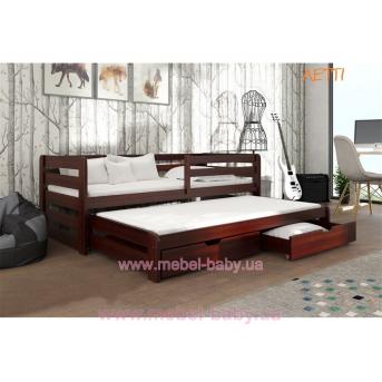 Распродажа Кровать Лети  с дополнительным спальным местом и бортиком Мистер Мебл 80x190 орех