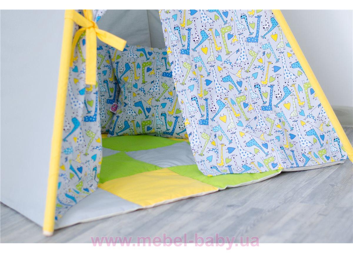 """Вигвам 4 детский """"Жирафы с жёлтым"""" с  матрасом Little Pa"""