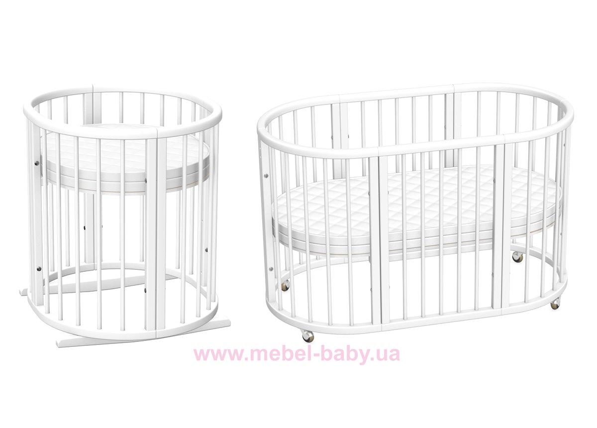 Распродажа Кроватка-трансформер круглая Ovalbed White 60х70 7в1 на полозьях + держатель для балдахина